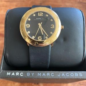 MARC by Marc Jacobs Black/Gold Leather Watch